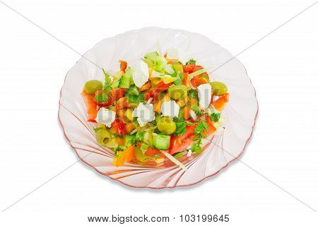 Greek Salad On A Plate Of Pink Glass