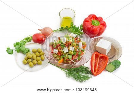 Greek Salad And Ingredients For Its Preparation