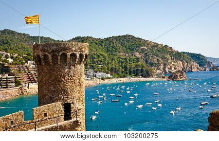Beach of Tossa de Mar and lighthouse, Costa Brava, Spain