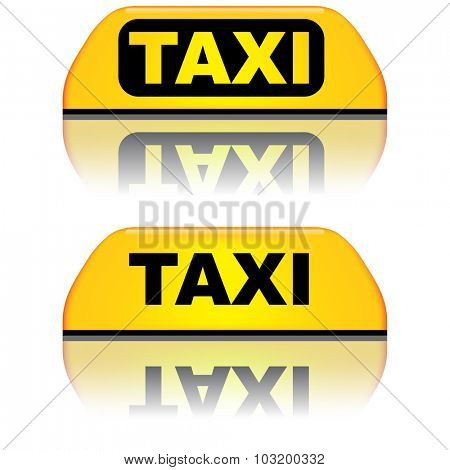 Black and yellow taxi top sign vector illustration.