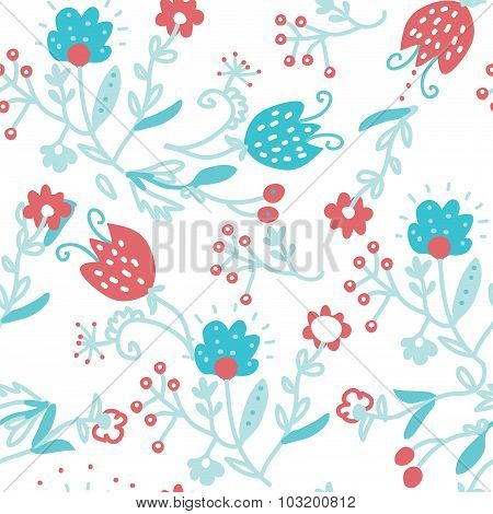 Floral Seamless Pattern For Textile - Simple Cute Design