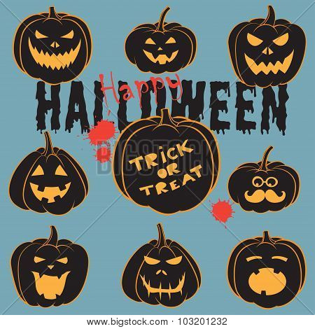 Set Of Vintage Happy Halloween pumpkins. Halloween Scrapbook Ele