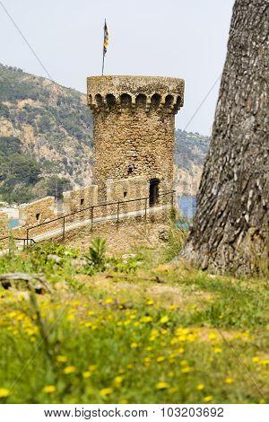 Tower Of Old City Of Tossa De Mar, Costa Brava, Spain