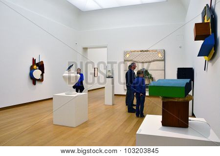 Amsterdam, Netherlands - May 6, 2015: People Visit Exhibition In Stedelijk Museum