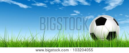 Concept or conceptual 3D soccer ball in fresh green summer or spring field grass with a blue sky background banner
