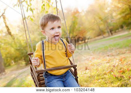 Happy baby boy having fun on a swing ride at a garden a autumn day