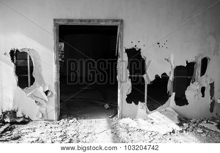 Abandoned Building Interior. Empty Door,  Holes