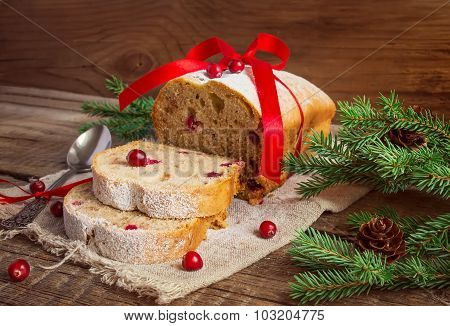 Christmas Cake With Cranberry On An Old Wooden Background