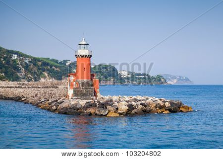 Red Lighthouse Tower On The Breakwater, Ischia