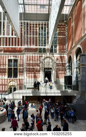 Amsterdam, Netherlands - May 6, 2015: Tourists In The Modern Atrium Rijksmuseum