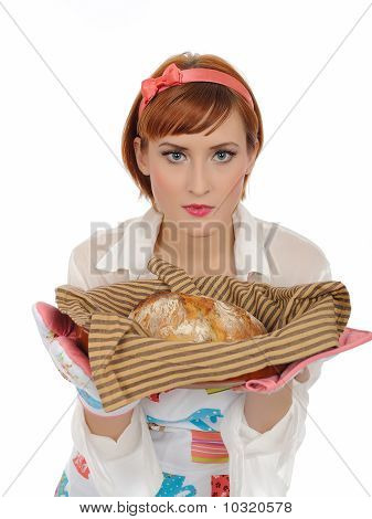 Beautiful Cooking Woman In Apron And Homemade Italian Chiabatta Bread. Isolated On White Background