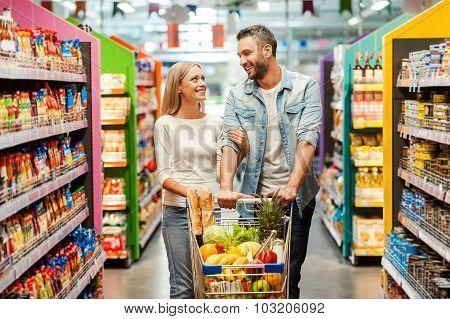 Enjoying Shopping Together.
