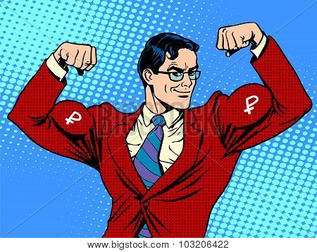 Businessman with muscles currency ruble