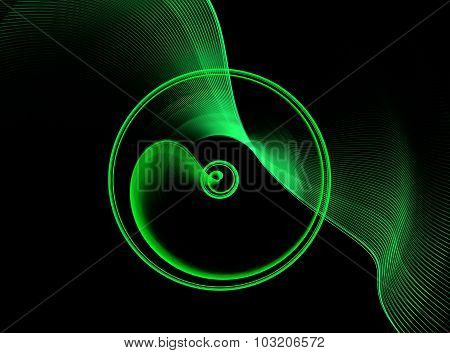 Green abstract fractal shape with black background