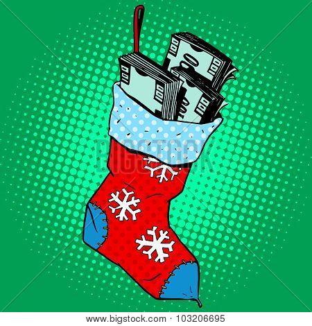 Christmas sock with money