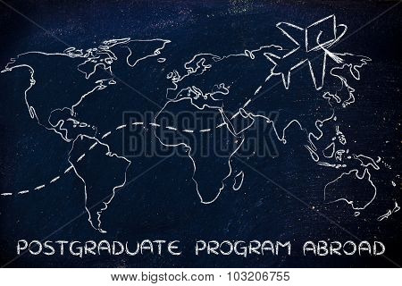Postgraduate Programs Abroad, Airplane Wearing Graduation Hat Flying Across The World