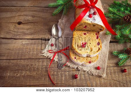 Slices of cake with cranberries. Christmas decorations, tinted i