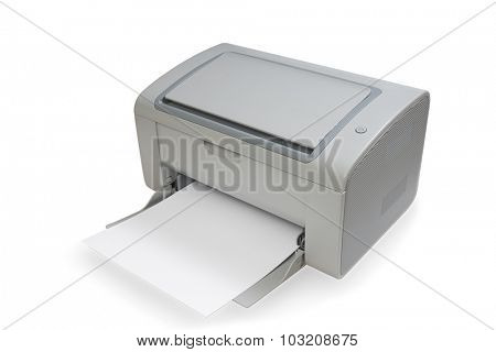 Laser printer with paper, isolated on white.