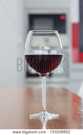Wine glass set on a wooden table
