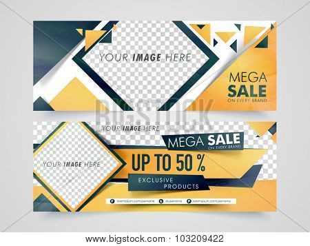 Mega Sale website header or banner set with 50% discount offer and space to add your images.