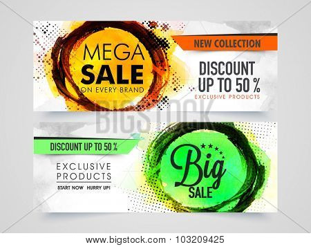 Mega Sale with 50% discount on Exclusive Products, Creative website header or banner set with abstract design.