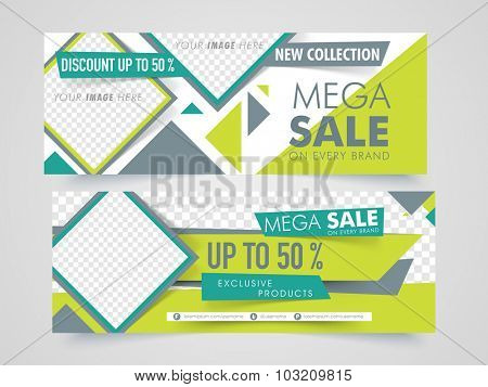 Mega Sale with discount offer,  Creative website header or banner set with space to add images.