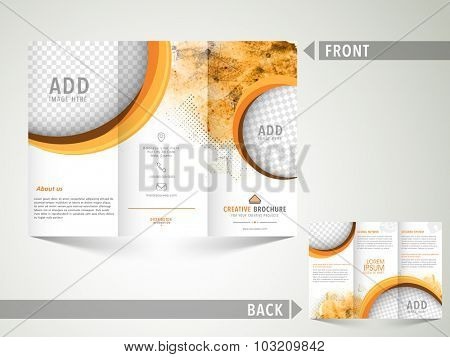 Creative abstract Brochure, Template or Flyer design with image space and front and back side presentation for your Business.