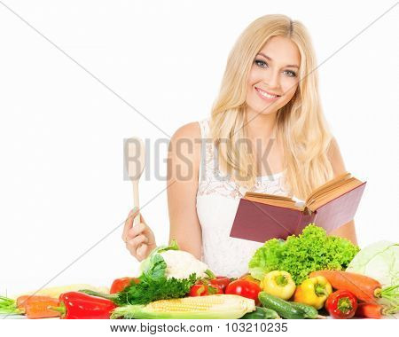 Beautiful woman with recipe book and wooden spoon, isolated on white background