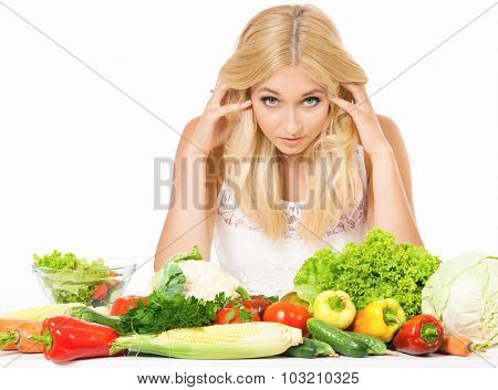Diet Concept - beautiful woman with fresh vegetables, isolated on white background