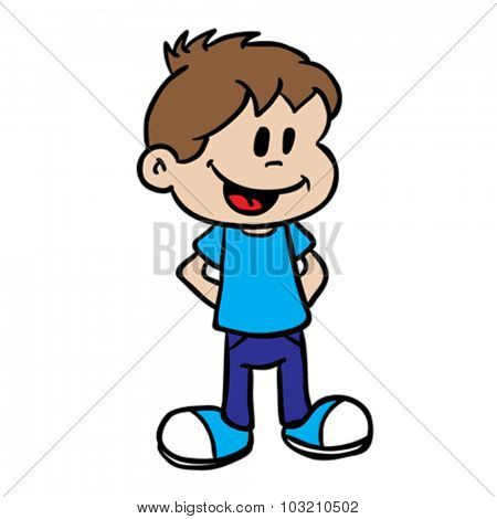 smiling boy cartoon illustration