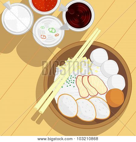 Thai Style Fish Ball Noodle And Roast Red Pork Without Soup And Condiment