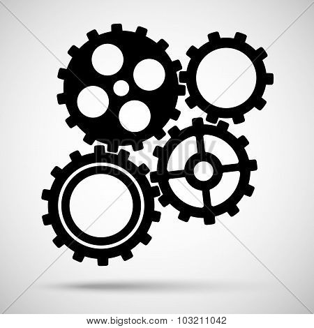 black toothed gears is meshed on gray background. vector illustration eps10