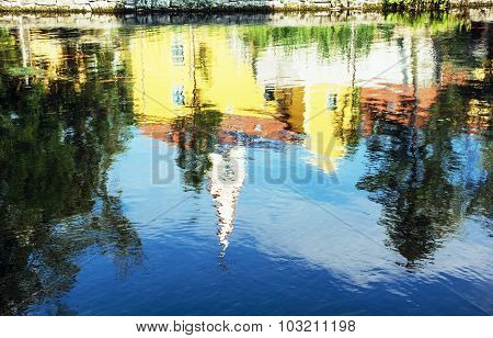 Church And Convent In Tapolca Is Mirroring In The Water Level Of The Lake