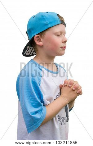 Spiritual Child Boy Pray To God Belive In Answer Isolated On White Background