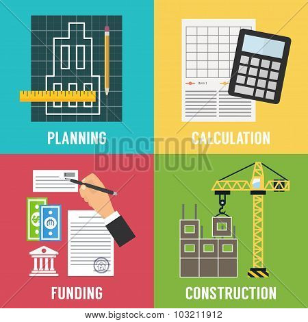 Construction process  Infographic. Vector template.