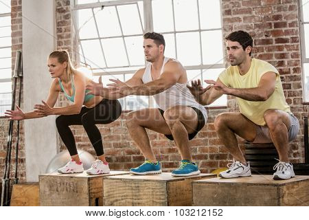 People doing plyo box exercise at the gym