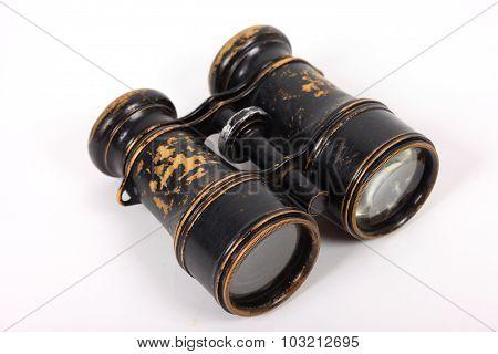Antique vintage binoculars on a white background