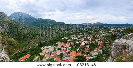 Panoramic View From The Fortress Wall On Bar, Montenegro