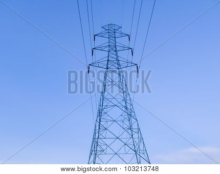 Electricity Post Line Into The Power Factory