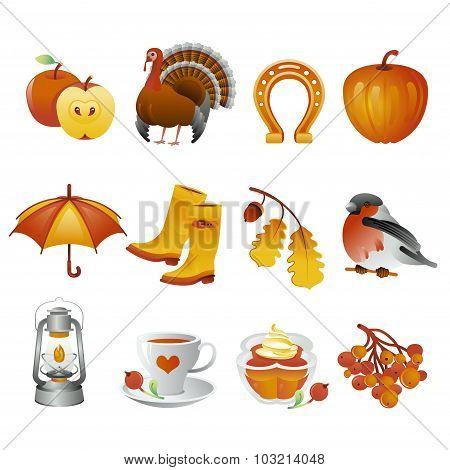 Autumn And Thanksgiving Icon Set