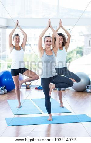 Fit women doing tree pose in fitness studio