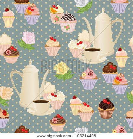Seamless pattern with coffee pot, cups, cakes and roses.