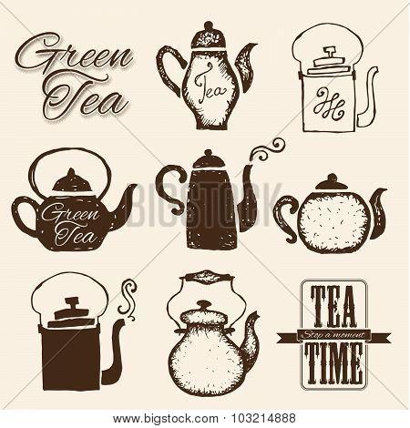 Set of labels on theme tea. Tea logo.