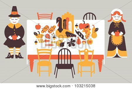 Composition With Thanksgiving Dinner