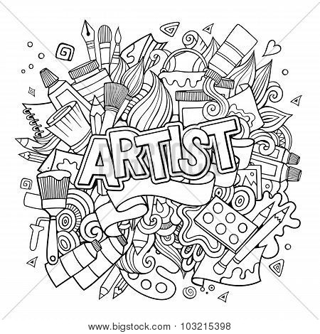 Artist hand lettering and doodles elements emblem