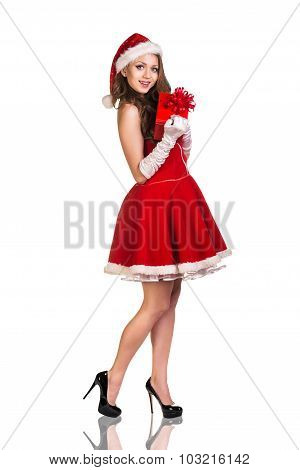 Christmas woman in Santa Claus hat