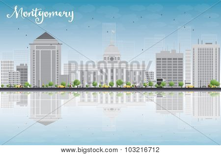 Montgomery Skyline with Grey Building, Blue Sky and reflections. Alabama.