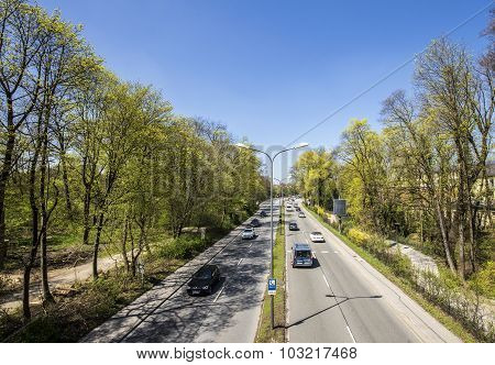 Urban Highway Divides The English Garden In Two Parts In Munic