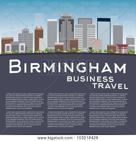 Birmingham (Alabama) Skyline with Grey Buildings, Blue Sky and copy space. Business travel concept.