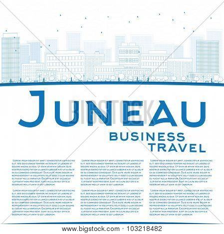 Outline Juneau (Alaska) Skyline with Blue Building. Business travel concept.